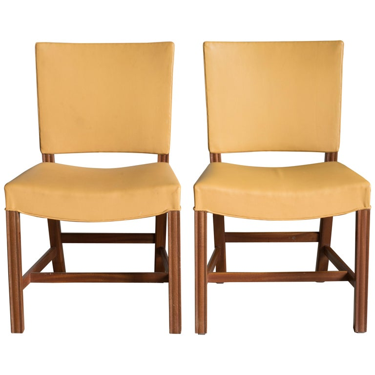 Kaare Klint Pair of Red Chairs for Rud. Rasmussen For Sale