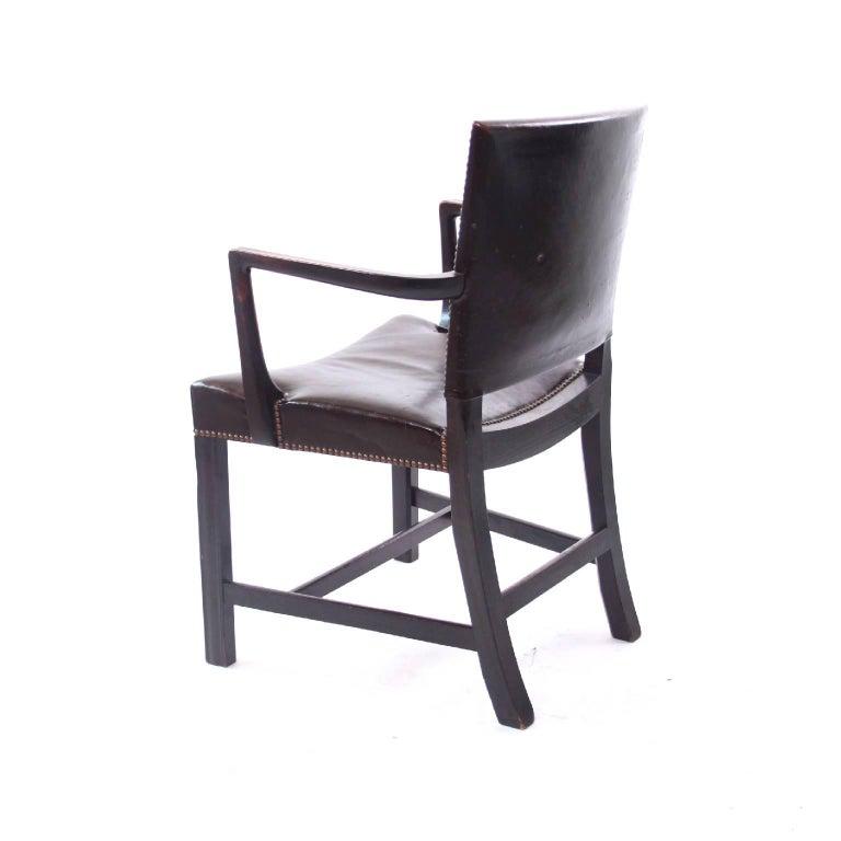 Danish Kaare Klint 'Red Armchair' in Dark Brown Leather and Dark Oak Frame, 1940s For Sale