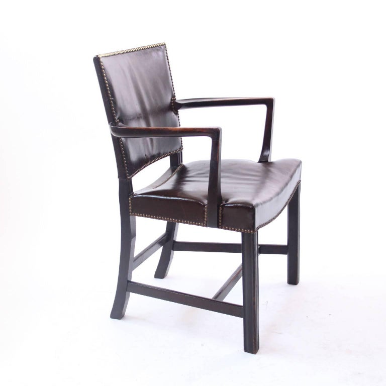 Stained Kaare Klint 'Red Armchair' in Dark Brown Leather and Dark Oak Frame, 1940s For Sale