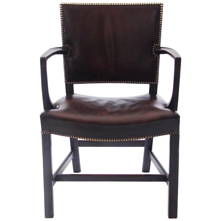Kaare Klint 'Red Armchair' in Dark Brown Leather and Dark Oak Frame, 1940s For Sale