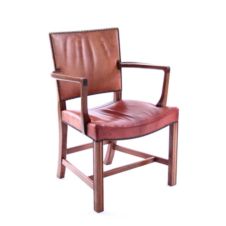 Mid-Century Modern Kaare Klint Red Chair for Rud Rasmussen, Denmark, 1950s For Sale
