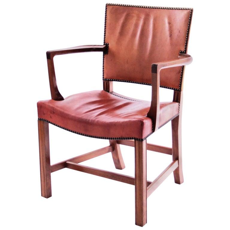 Kaare Klint Red Chair for Rud Rasmussen, Denmark, 1950s For Sale