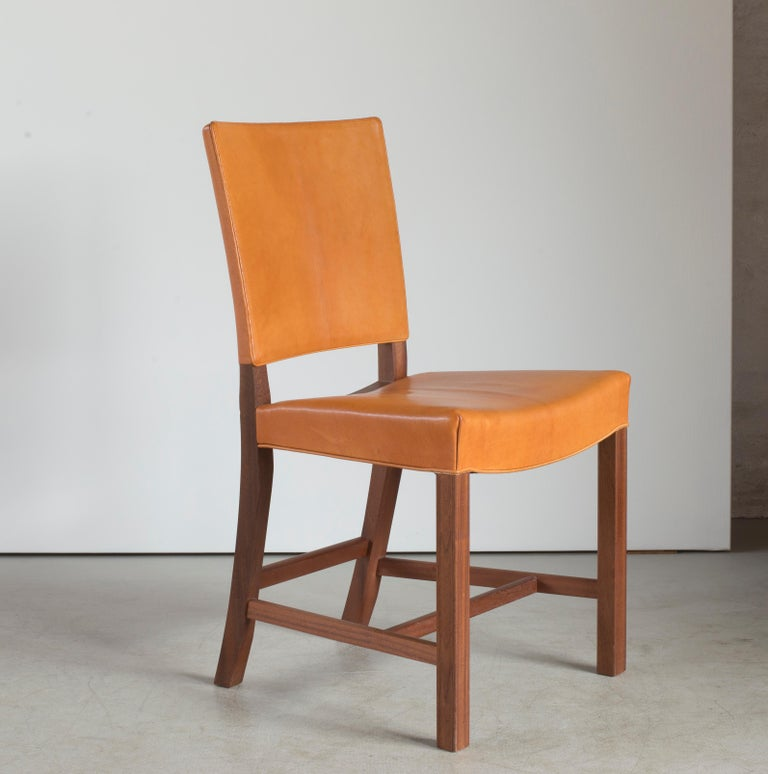Kaare Klint red chair of mahogany and leather. Executed by Rud. Rasmussen.