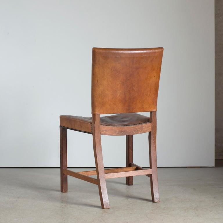 Kaare Klint Red Chair for Rud. Rasmussen In Good Condition For Sale In Copenhagen, DK