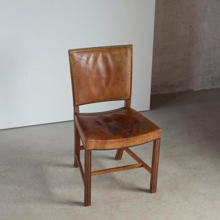 Brass Kaare Klint Red Chair for Rud. Rasmussen For Sale