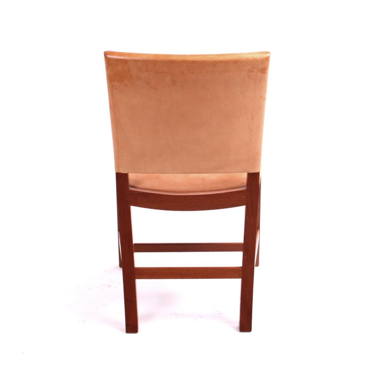 "Danish Kaare Klint ""Red Chair"" in Patinated Natural Leather with Piping For Sale"