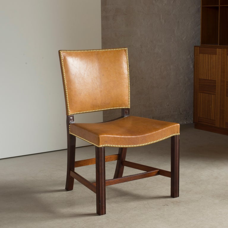 Scandinavian Modern Kaare Klint Red Chair of Cuban Mahogany and Niger Leather For Sale