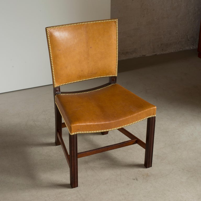 Danish Kaare Klint Red Chair of Cuban Mahogany and Niger Leather For Sale