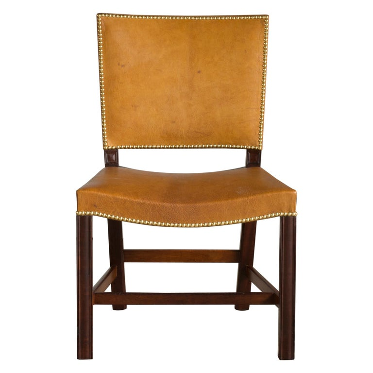 Kaare Klint Red Chair of Cuban Mahogany and Niger Leather For Sale