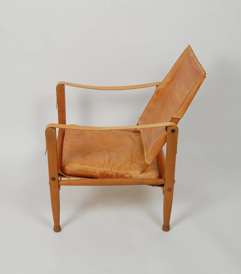 Oiled Kaare Klint Safari Chair Danish Design For Sale