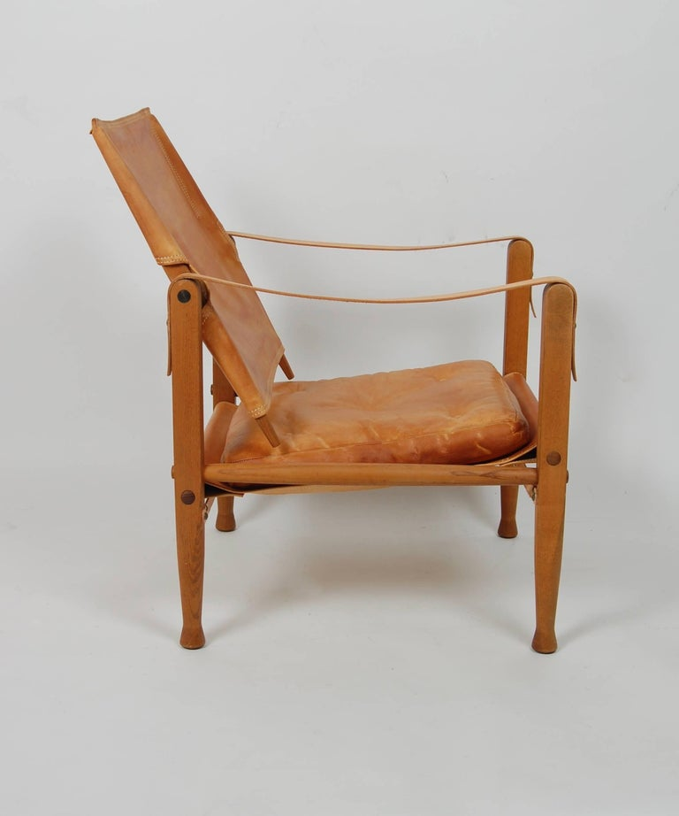 Leather Kaare Klint Safari Chair Danish Design For Sale