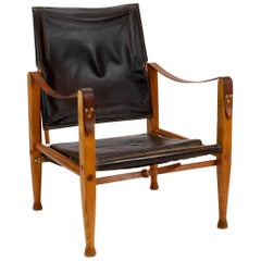 Kaare Klint Safari Chair in Black Leather by Rud Rasmussen, Denmark, 1960s