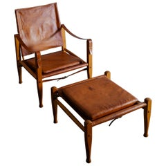 "Kaare Klint ""Safari Chair & Ottoman"" in Leather for Rud Rasmussen, Denmark 1960s"