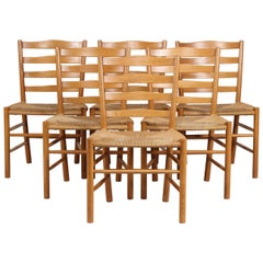 "Kaare Klint Set of 6 Dining Chairs ""Kirkestole"" Manu by Fritz Hansen, 1970s"