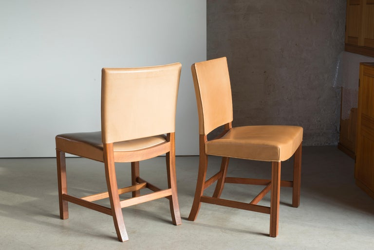 Scandinavian Modern Kaare Klint Set of Red Chairs for Rud. Rasmussen For Sale