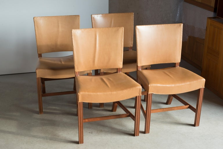 European Kaare Klint Set of Red Chairs for Rud. Rasmussen For Sale