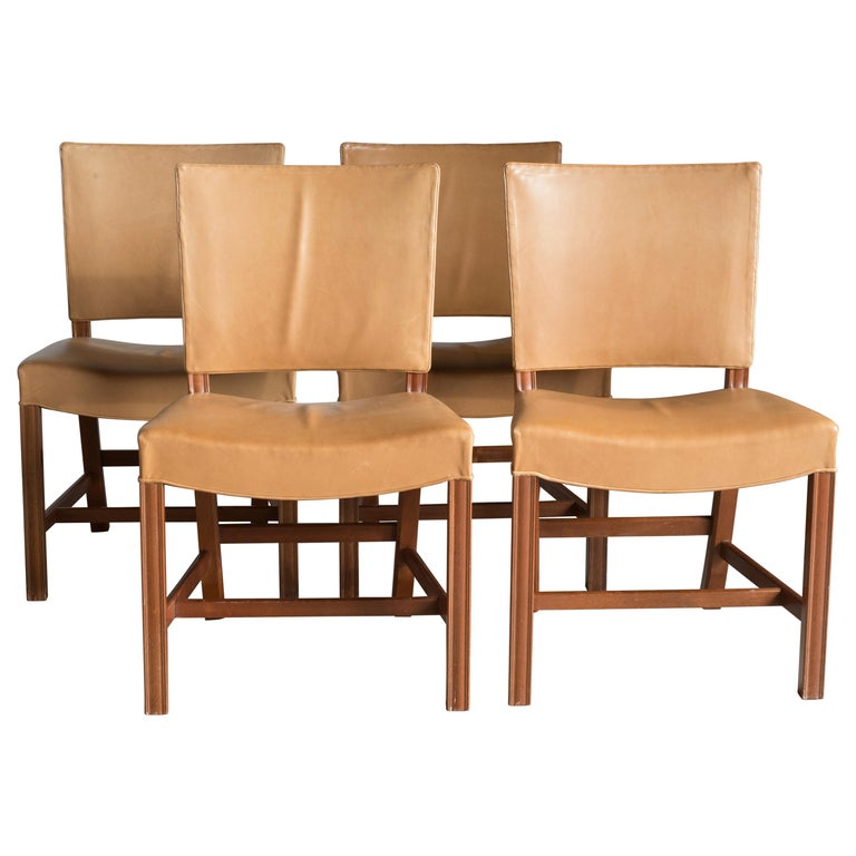 Kaare Klint Set of Red Chairs for Rud. Rasmussen For Sale