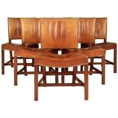 Kaare Klint, Set of Six 'Barcelona' Dining Chairs, Model 3758.