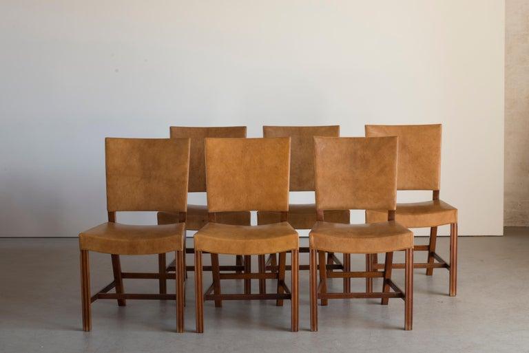 Scandinavian Modern Kaare Klint Set of Six Red Chairs for Rud. Rasmussen For Sale