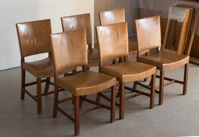Danish Kaare Klint Set of Six Red Chairs for Rud. Rasmussen For Sale