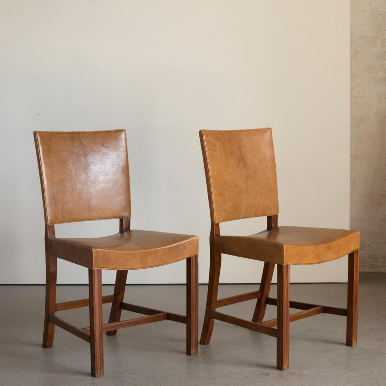 Mid-20th Century Kaare Klint Set of Six Red Chairs for Rud. Rasmussen For Sale
