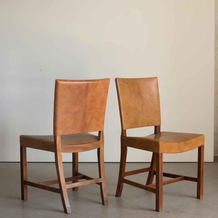 Leather Kaare Klint Set of Six Red Chairs for Rud. Rasmussen For Sale