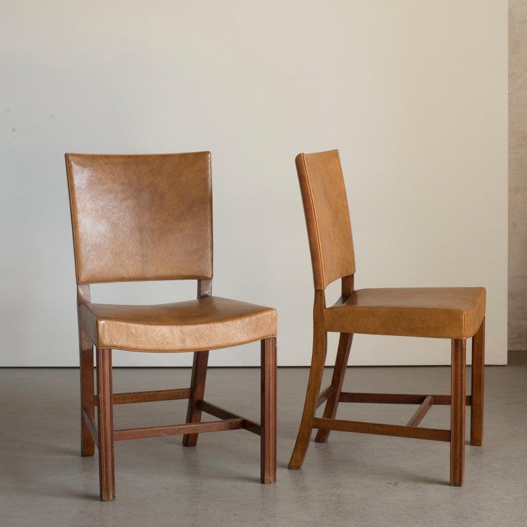 Kaare Klint Set of Six Red Chairs for Rud. Rasmussen For Sale 1