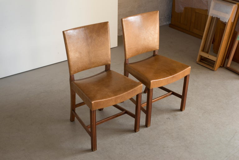 Kaare Klint Set of Six Red Chairs for Rud. Rasmussen For Sale 2