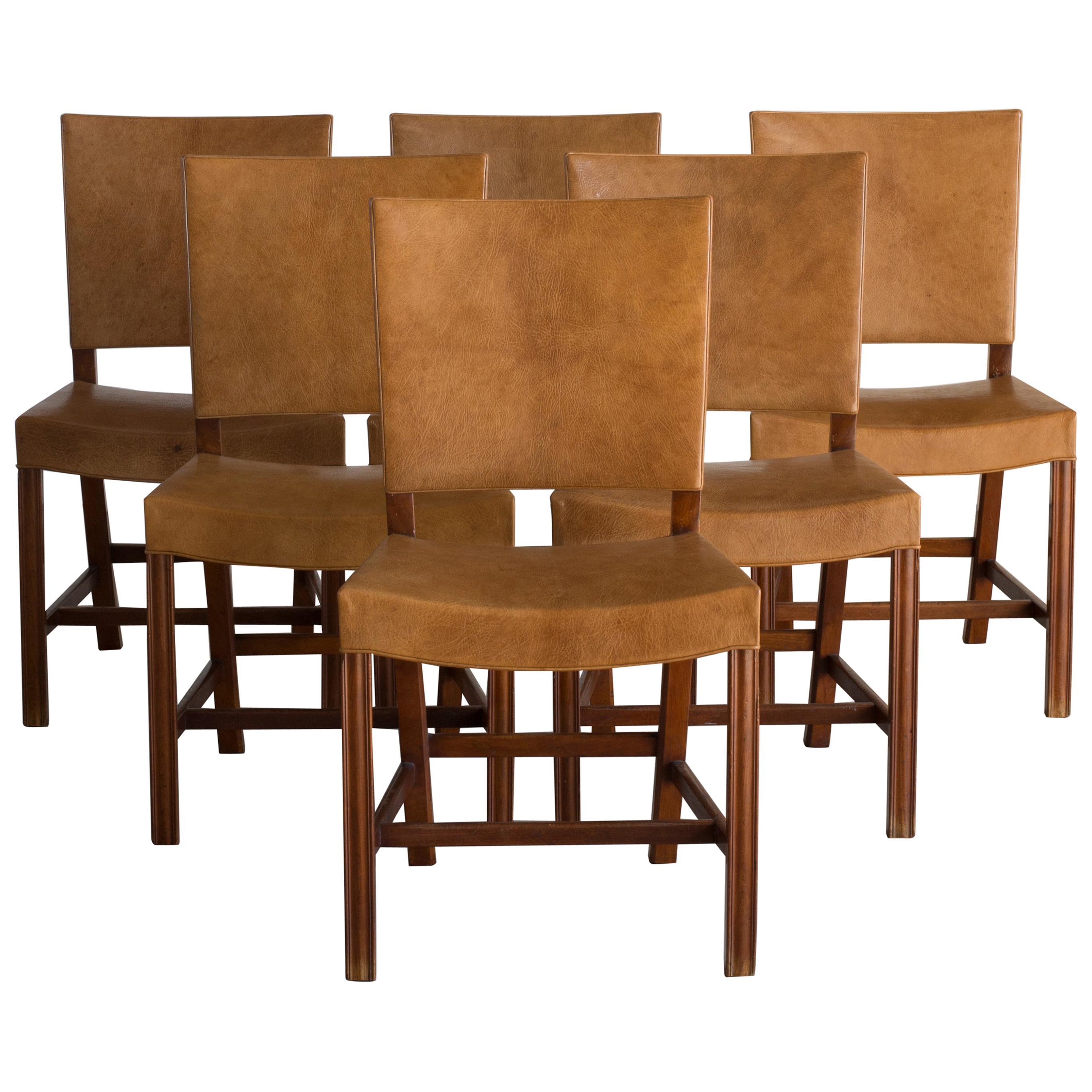 Kaare Klint Set of Six Red Chairs for Rud. Rasmussen