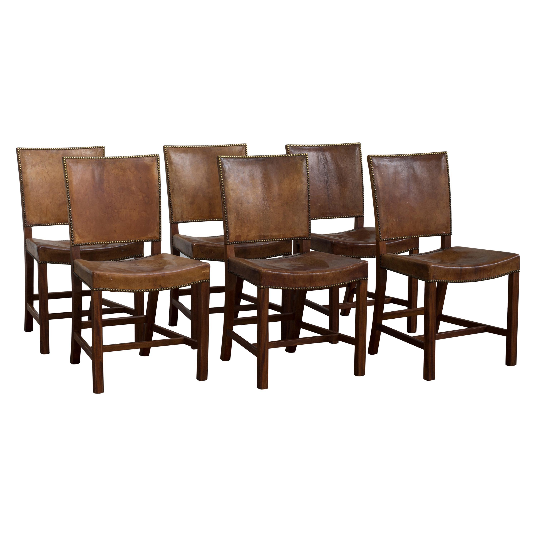 Kaare Klint Set of Six Red Chairs for Rud, Rasmussen