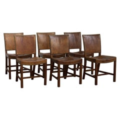 Kaare Klint Set of Six Red Chairs for Rud, Rasmussen