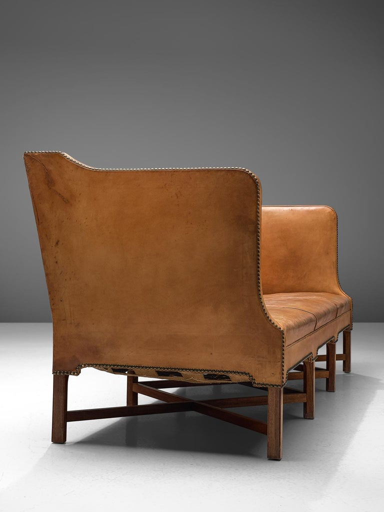 Mid-Century Modern Kaare Klint Sofa '4118' in Mahogany and Original Cognac Leather For Sale