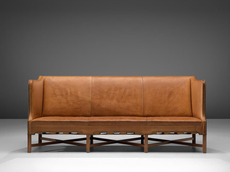 Danish Kaare Klint Sofa '4118' in Mahogany and Original Cognac Leather For Sale