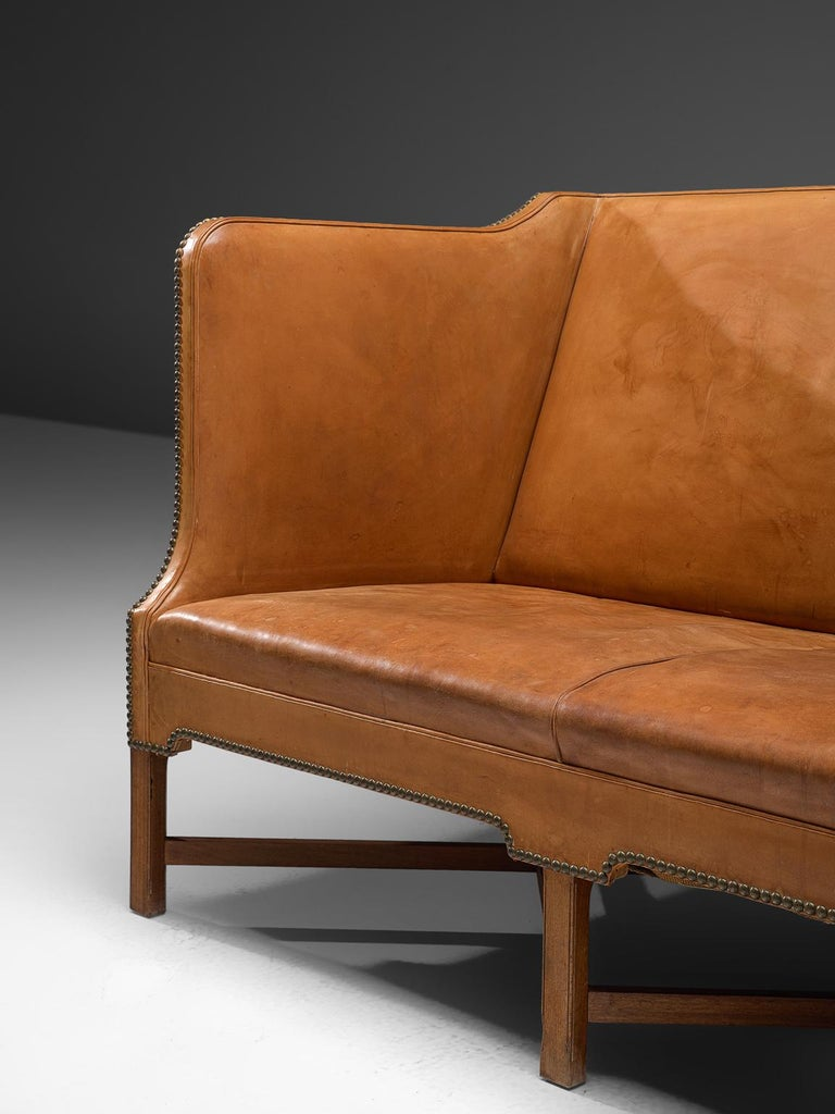 Early 20th Century Kaare Klint Sofa '4118' in Mahogany and Original Cognac Leather For Sale