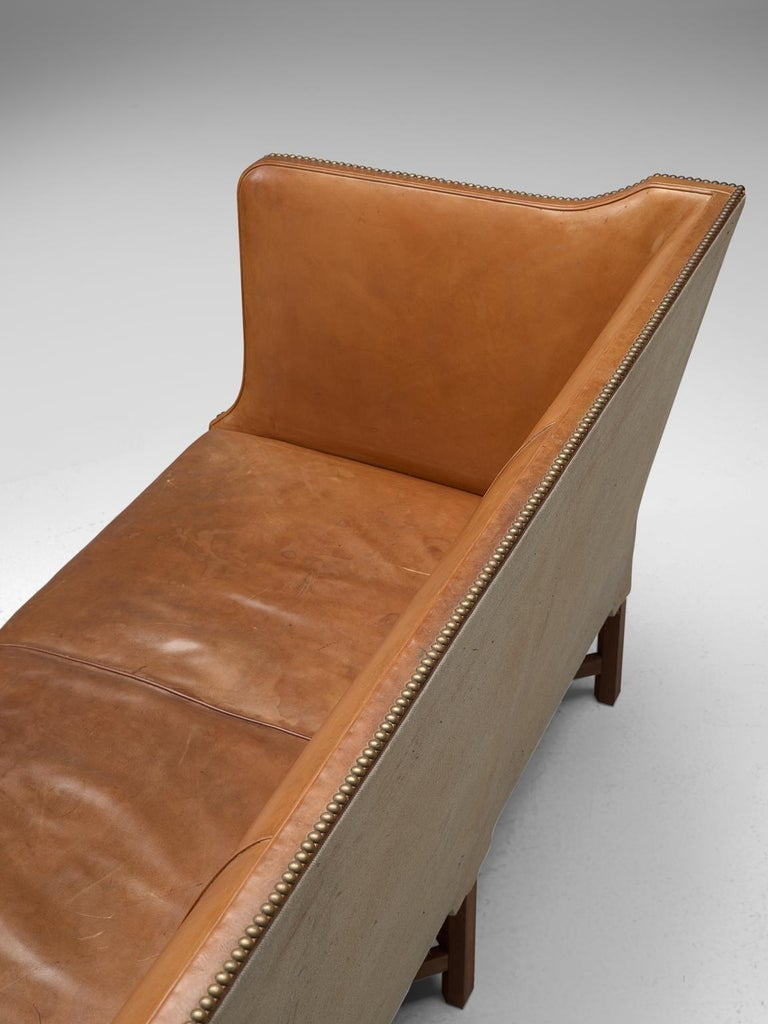 Kaare Klint Sofa '4118' in Mahogany and Original Cognac Leather For Sale 1