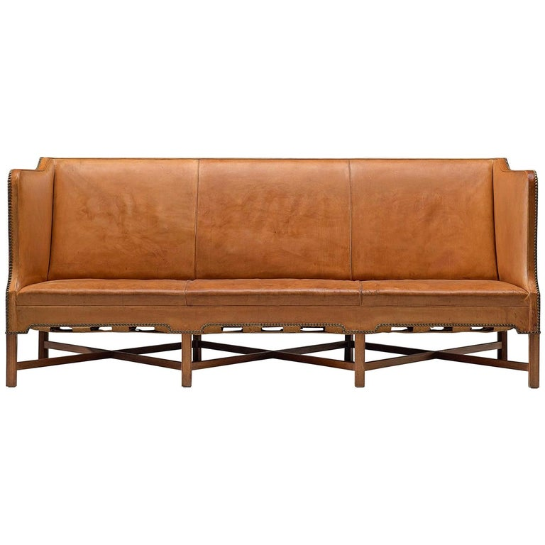 Kaare Klint Sofa '4118' in Mahogany and Original Cognac Leather For Sale