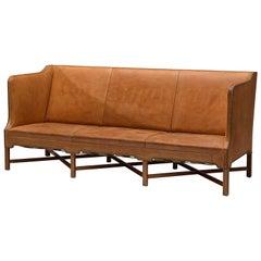 Kaare Klint Sofa '4118' in Mahogany and Original Cognac Leather