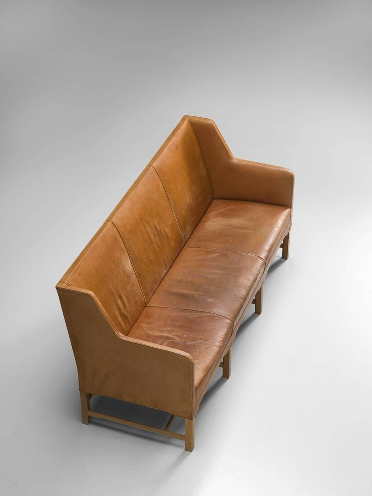 Scandinavian Modern Kaare Klint Sofa in Oak and Original Cognac Leather For Sale