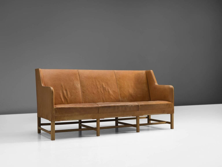 Danish Kaare Klint Sofa in Oak and Original Cognac Leather For Sale