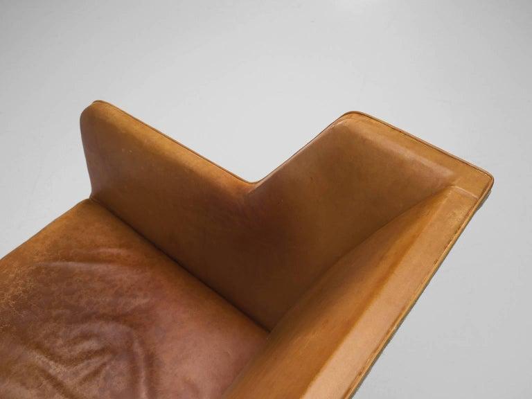 Kaare Klint Sofa in Oak and Original Cognac Leather In Good Condition For Sale In Waalwijk, NL