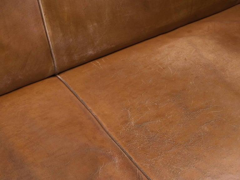 Kaare Klint Sofa in Oak and Original Cognac Leather For Sale 2