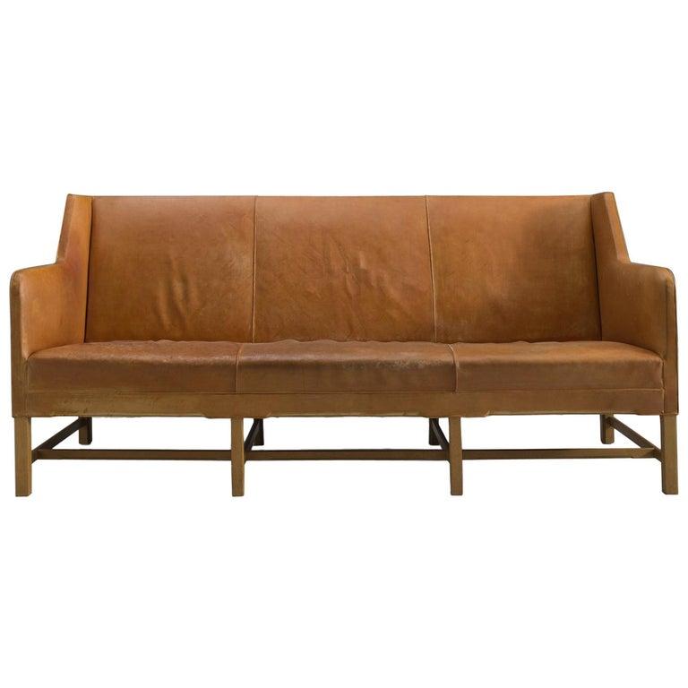 Kaare Klint Sofa in Oak and Original Cognac Leather For Sale