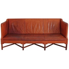 Rare Kaare Klint X-base Sofa in Original Patinated Leather