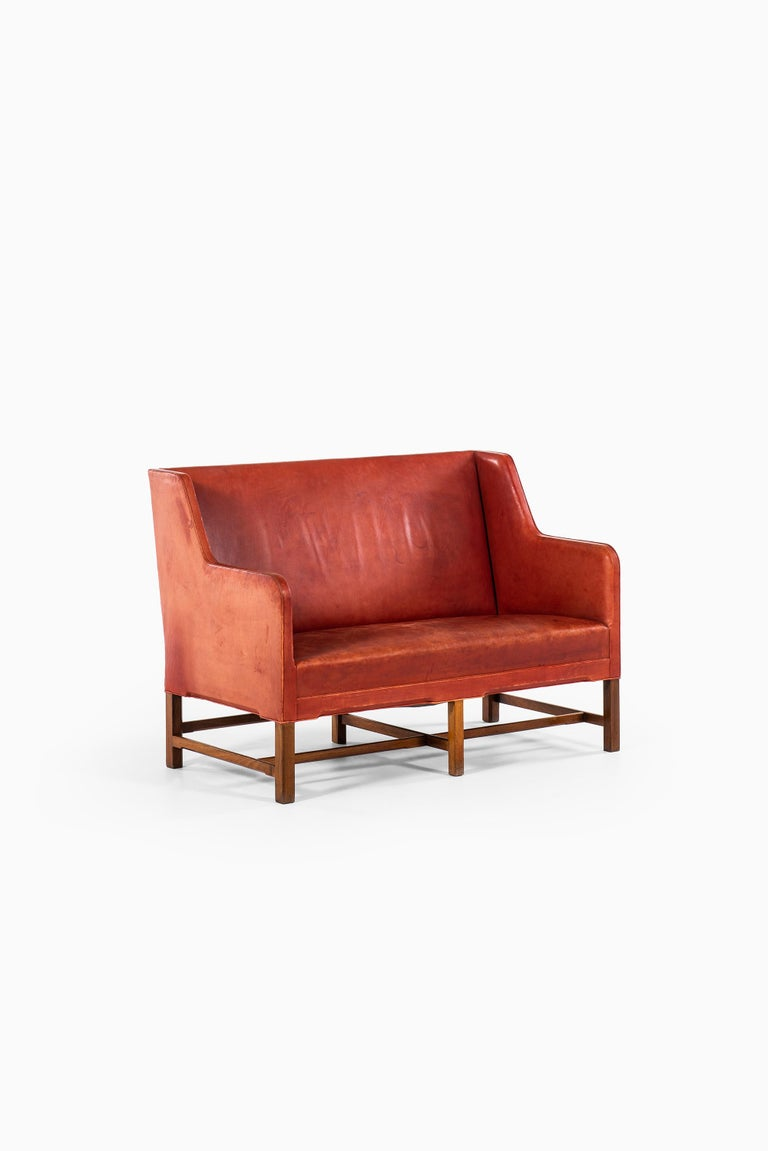 Leather Kaare Klint Sofa Model No 5011 Produced by Rud. Rasmussen in Denmark For Sale