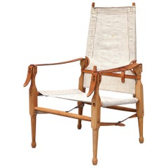 Kaare Klint Style Wood and Canvas Safari Chair