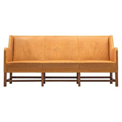 Kaare Klint Three 5011 Sofa in Naturel Leather and Mahogany