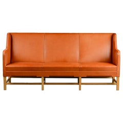 Kaare Klint Three-Seat Sofa in Original Cognac Leather Rud, Rasmussen Danish