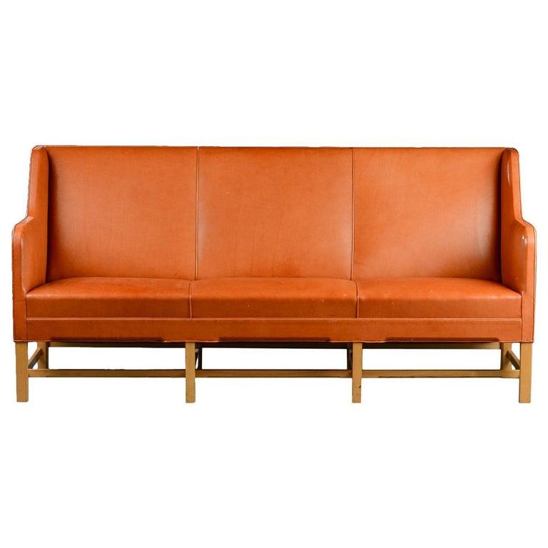 Kaare Klint Three-Seat Sofa in Original Cognac Leather Rud, Rasmussen Danish For Sale