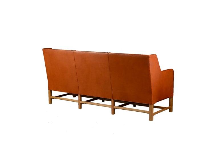 Scandinavian Modern Kaare Klint Three-Seat Sofa in Original Cognac Leather Rud, Rasmussen Danish For Sale