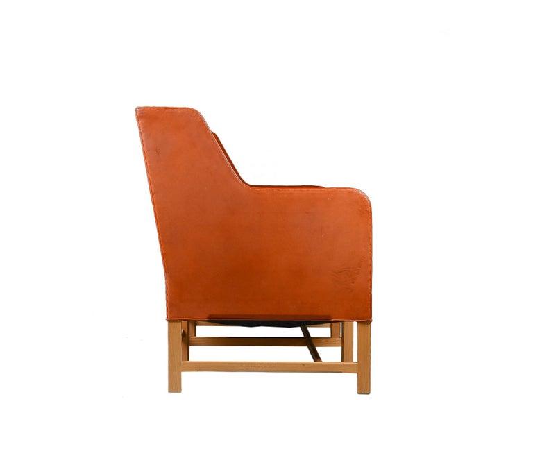 Kaare Klint Three-Seat Sofa in Original Cognac Leather Rud, Rasmussen Danish In Good Condition For Sale In Amsterdam, NL